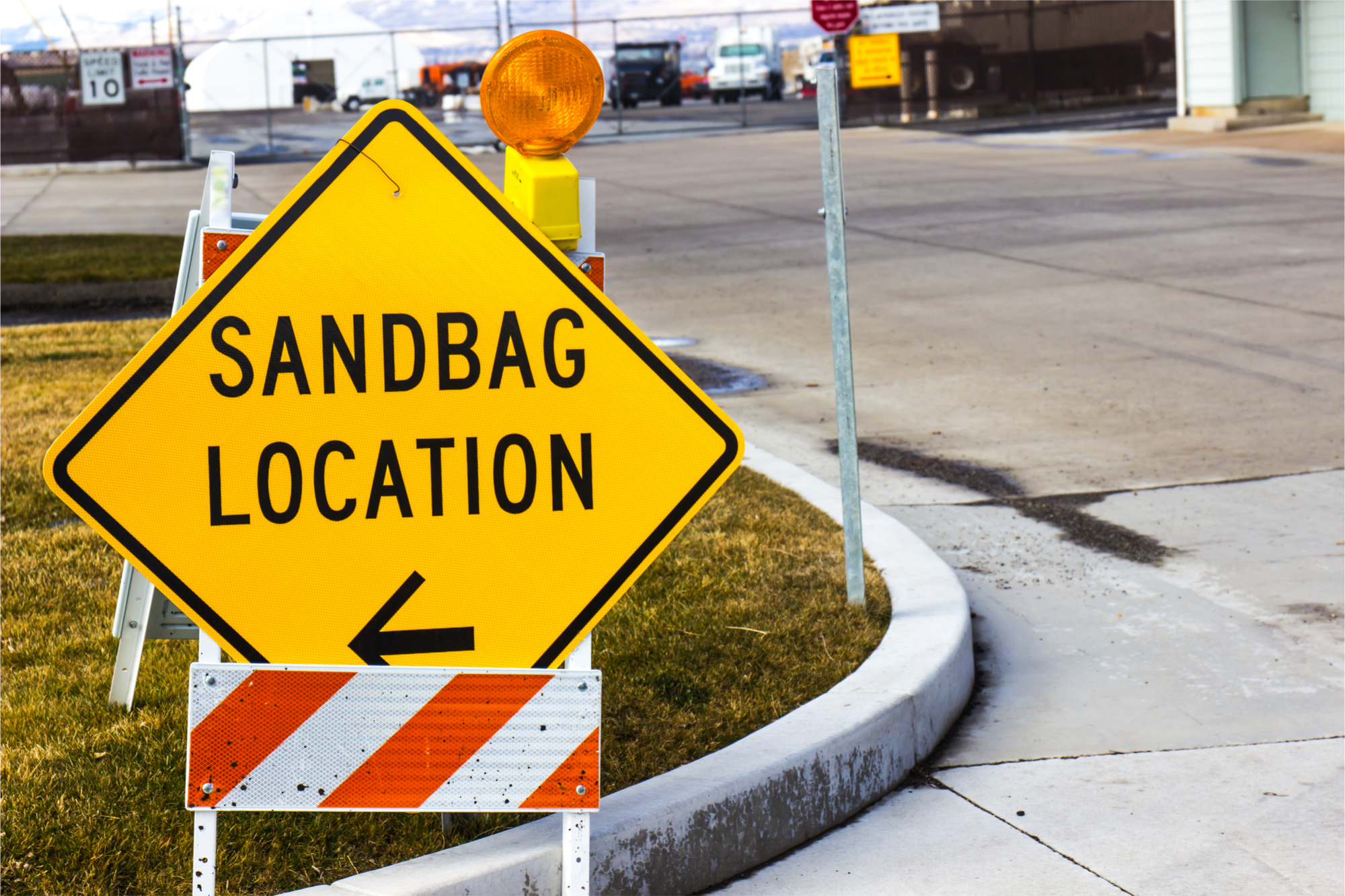 Sandbag location sign