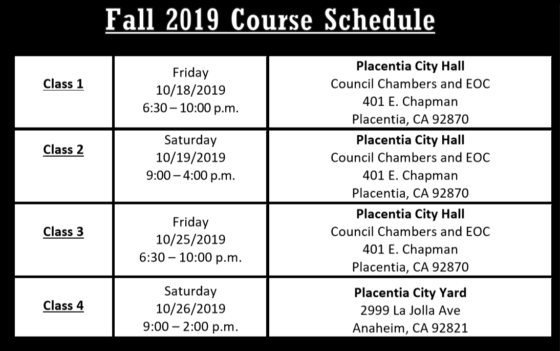Photo of Fall Course dates for CERT. Times and Locations.