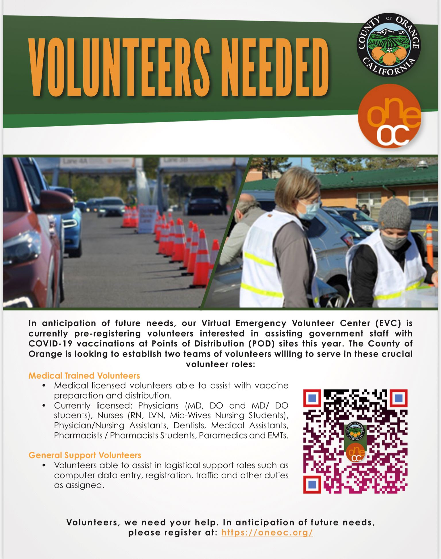Flyer for volunteers needed in administering COVID-19 vaccine