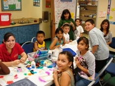 Group of kids making art projects